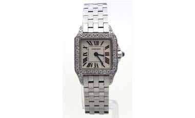 Ladies Cartier Demoiselle 2698 SS Diamond Bezel Quartz Watch