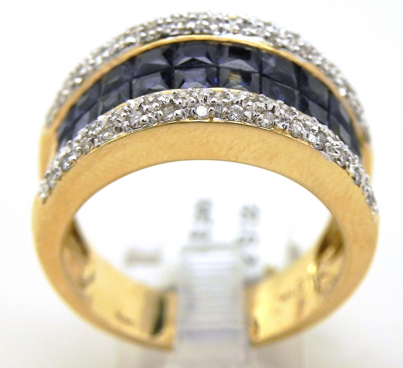 Ladies 14k Yellow Gold Pave Set Diamond 2cts Invisibly