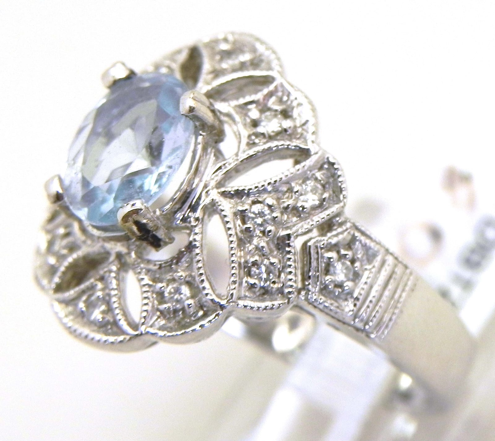 Ladies 14k White Gold Diamond Amp Blue Topaz Ring Bright