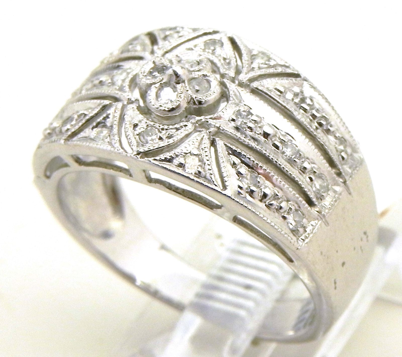 Ladies 14k White Gold Amp Diamond Filigree Band Ring