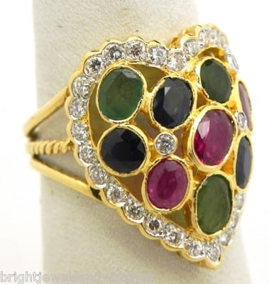 14k Yellow Gold Diamonds, Rubies, Blue Sapphires & Emeralds Heart Ring