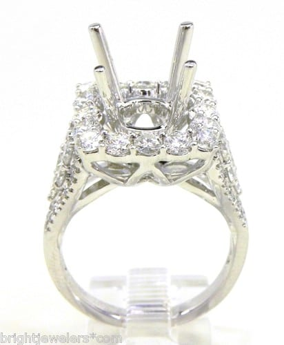 La s 18k White Gold 2 17 Cts Diamonds Square Top Semi Mount Engagement Rin