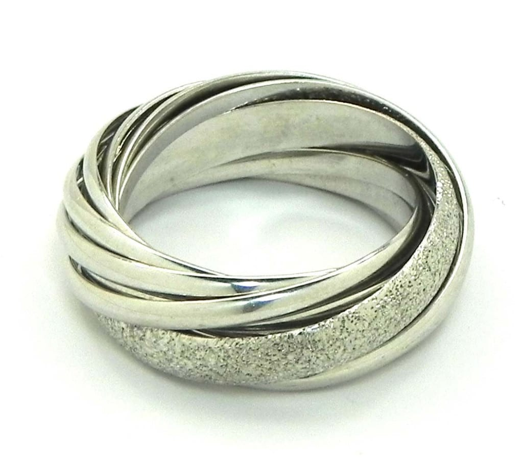 White Gold Bands: Ladies 18k White Gold Trinity Style Wedding Bands Rings