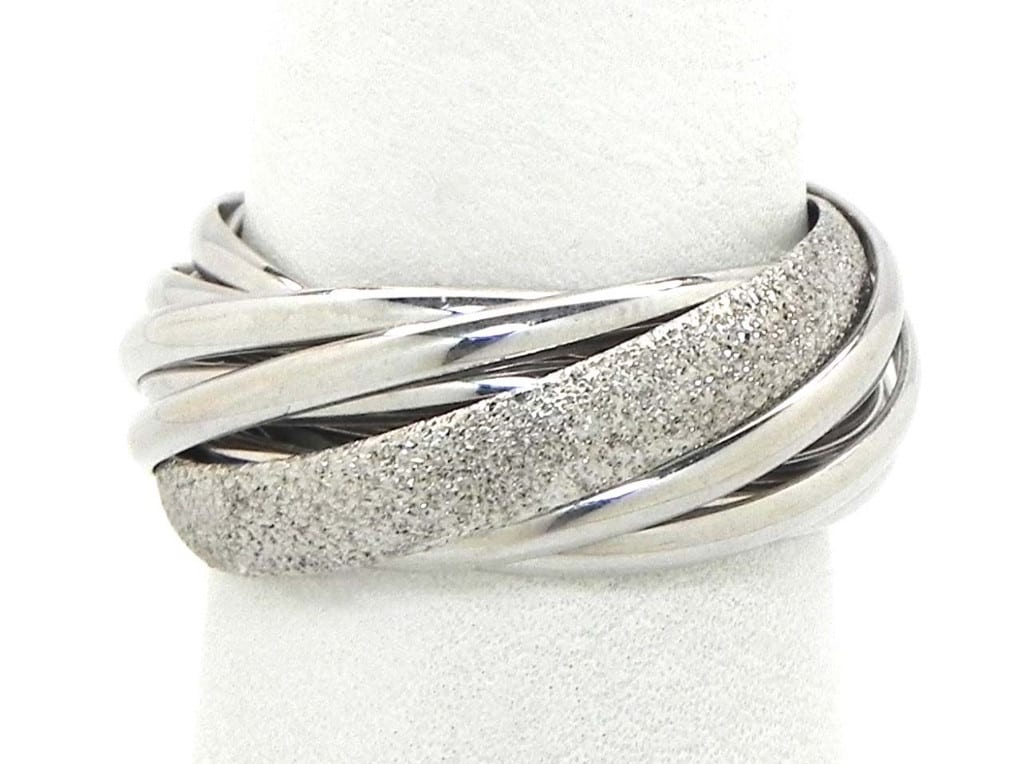 Ladies 18k White Gold Trinity Style Wedding Bands Rings