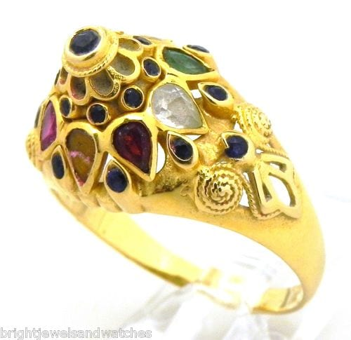 18k yellow gold colored stones domed ring bright