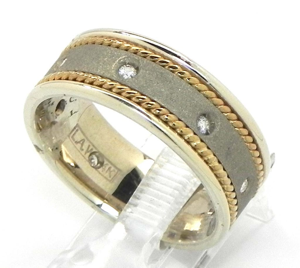 Men 39 s 14k two tone diamond twisted wire wedding band for Diamond mens wedding bands