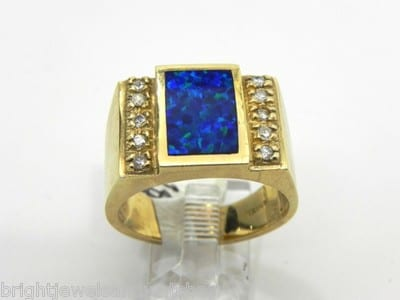 Men S 14k Yellow Gold Black Opal Amp Diamonds Ring Bright