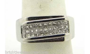 Men's 14k White Gold 1.15 Cts. Invisible Set Diamond Band Ring