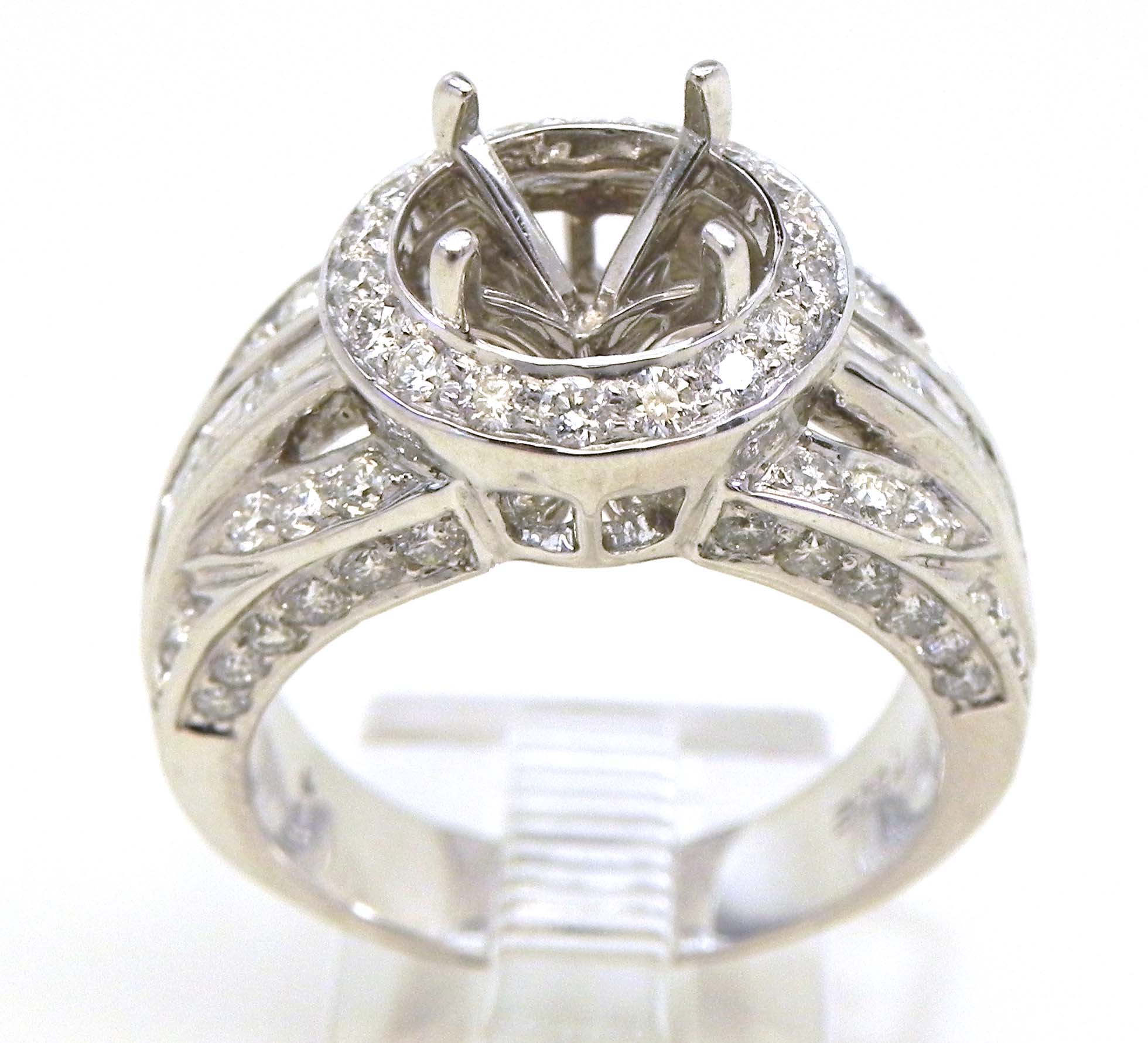 Ladies 18k white gold 143 cts diamonds semi mount for Wedding ring mounts