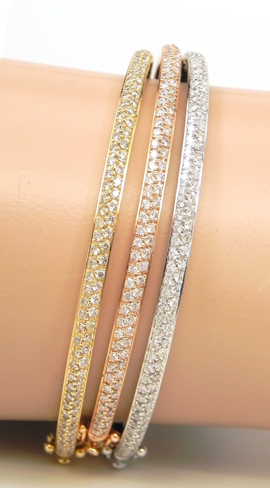 Ladies 14k Tri Color Gold 3 02 Cts Diamonds 3 Bangles Set