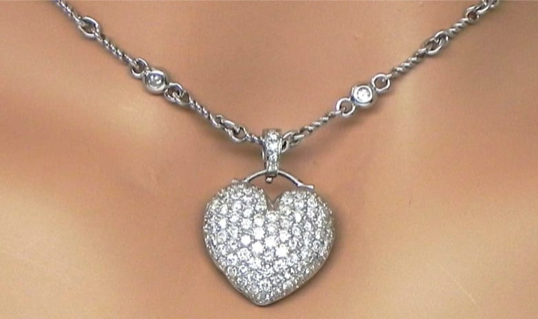 Ladies 18k white gold 288cts pave diamonds heart pendant diamond white gold 288cts pave diamonds heart pendant diamond necklace 340000 previous next aloadofball Gallery