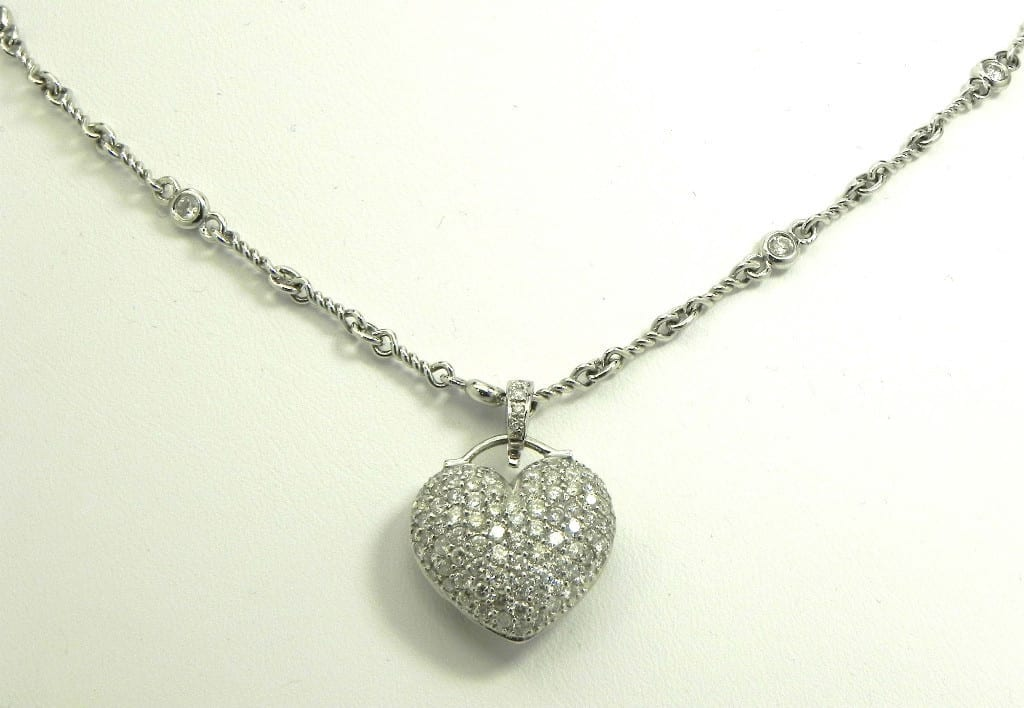 Ladies 18k White Gold 2 88cts Pave Diamonds Heart Pendant