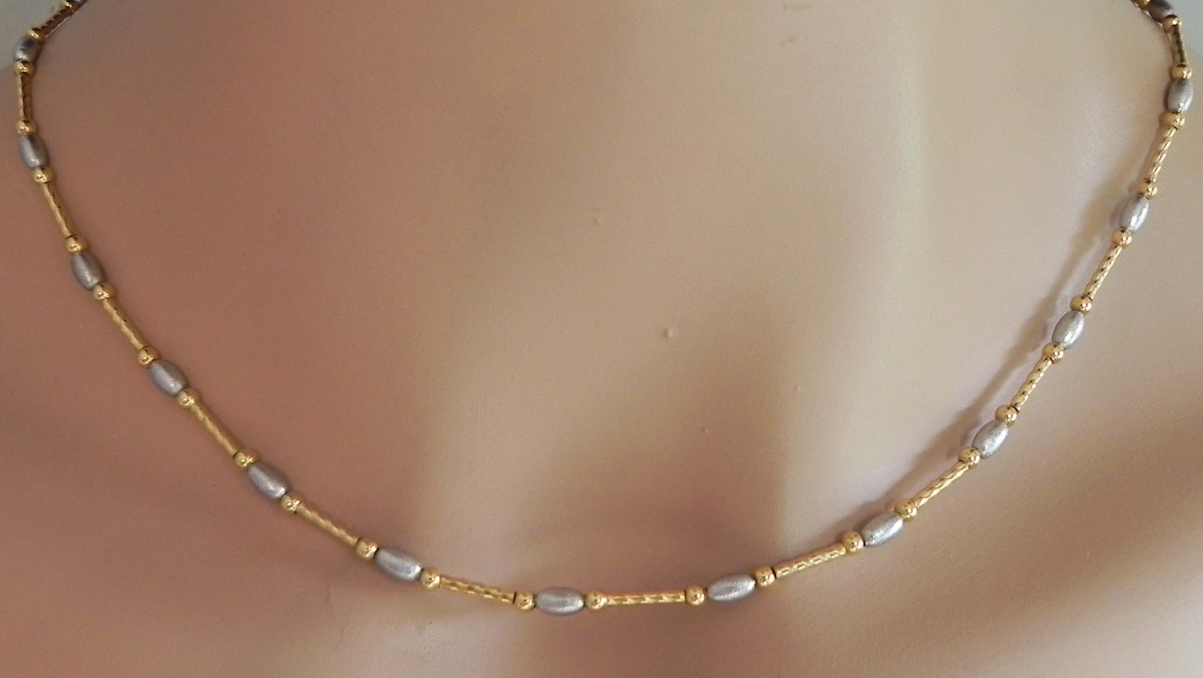 Ladies 14k Two Tone Frank Amp Beans 18 Necklace Bright