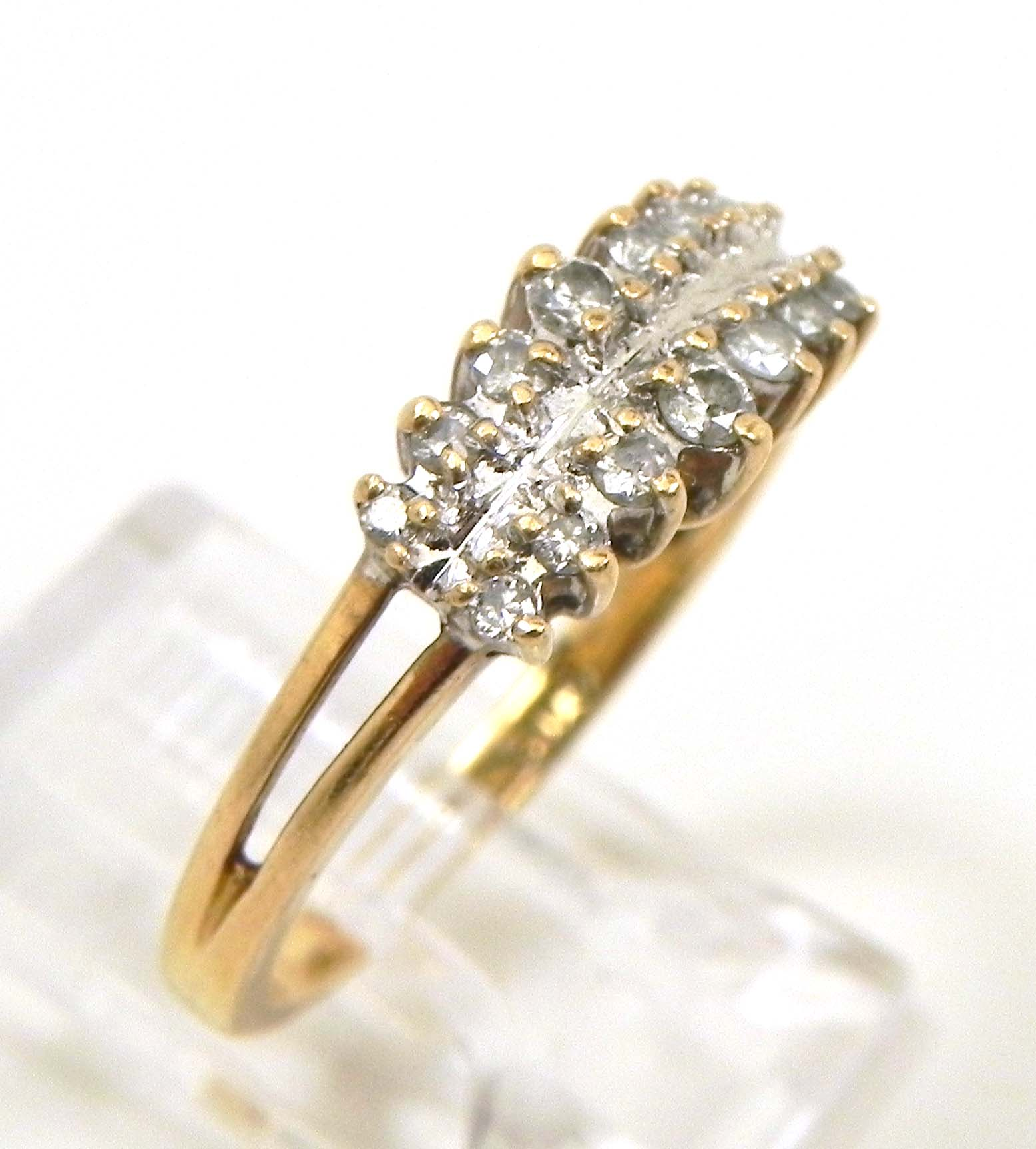 Gold Ring With  Rows Of Diamonds