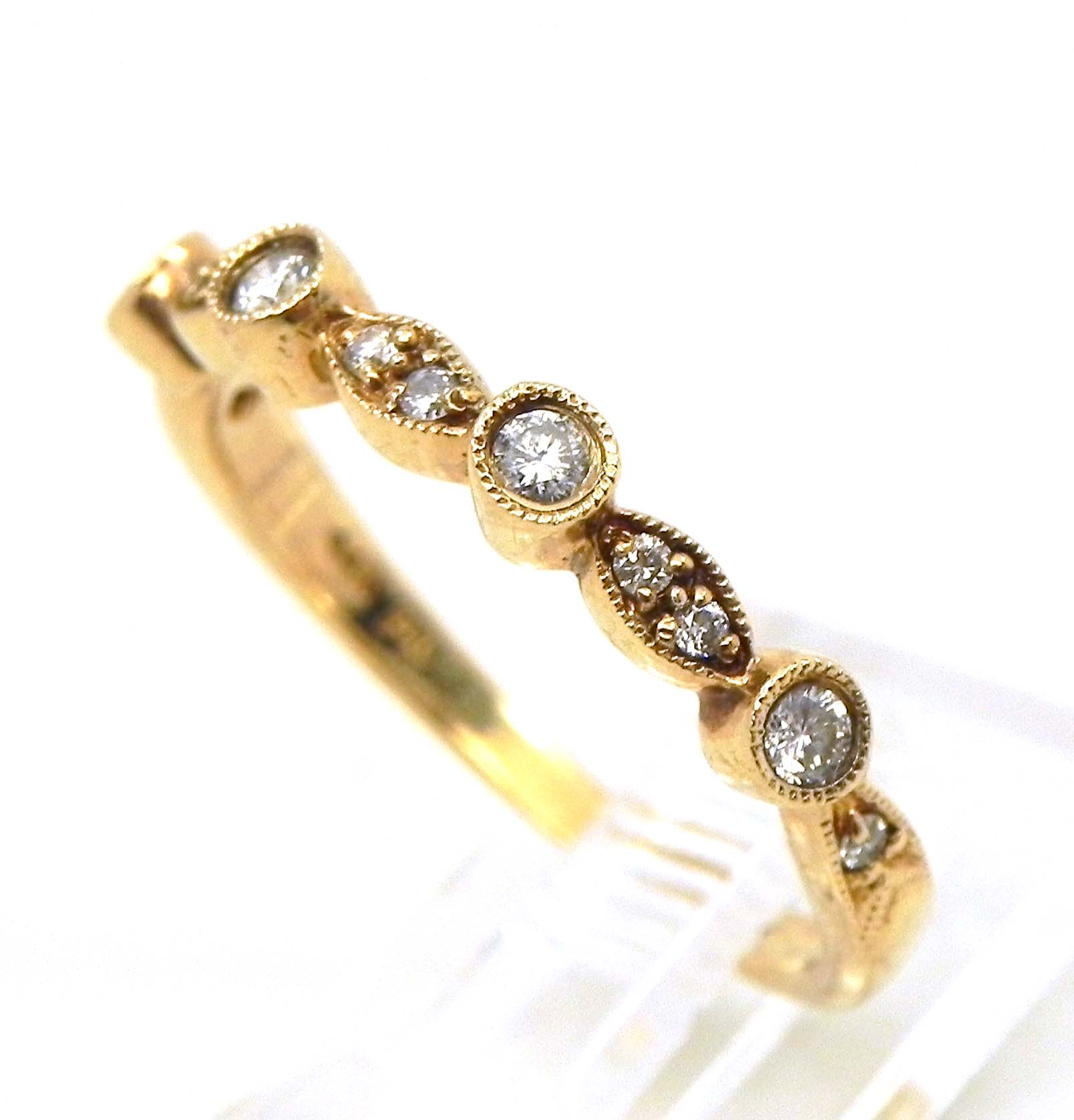 wedding bands stackable ladies 14k yellow gold diamonds wedding