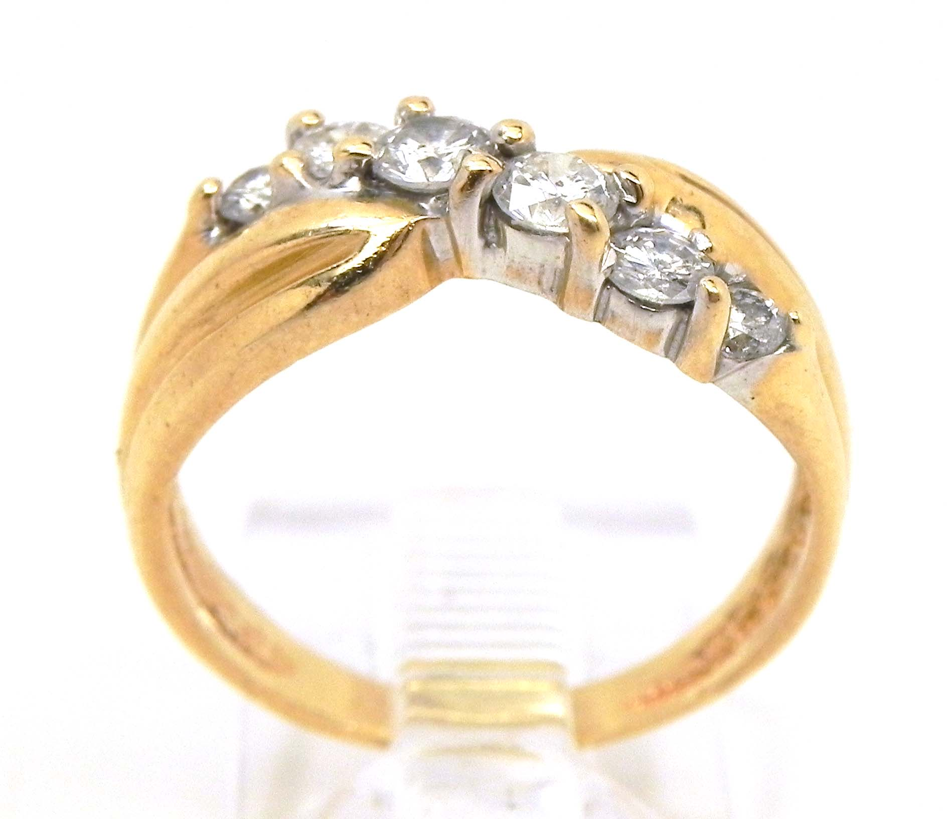 wedding bands ladies 14k yellow gold slanted diamonds wedding band