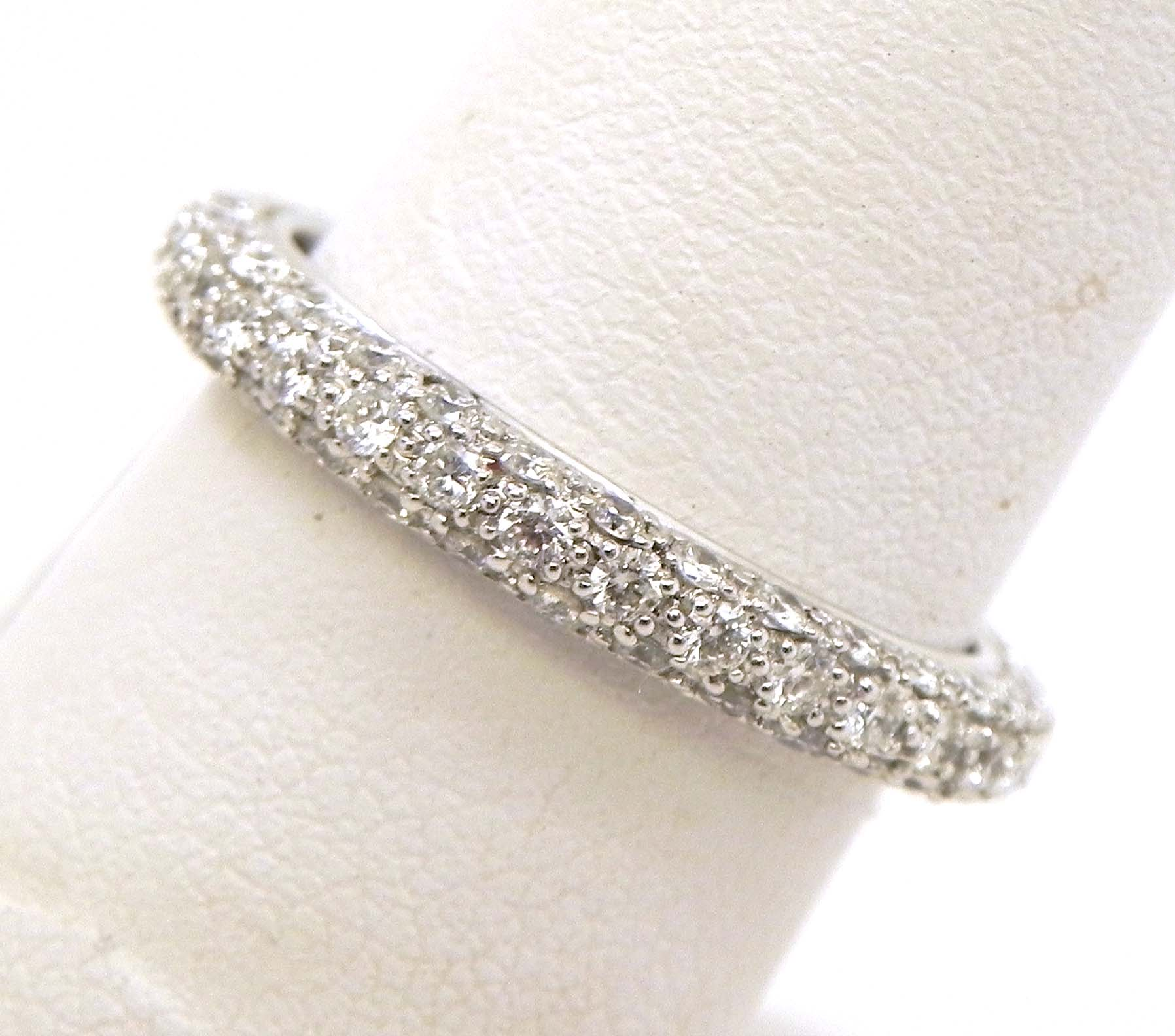 ladies 18k white gold 3 row diamonds eternity wedding band white gold wedding band White Gold 3 Row Diamonds Eternity Wedding Band 00 Previous Next