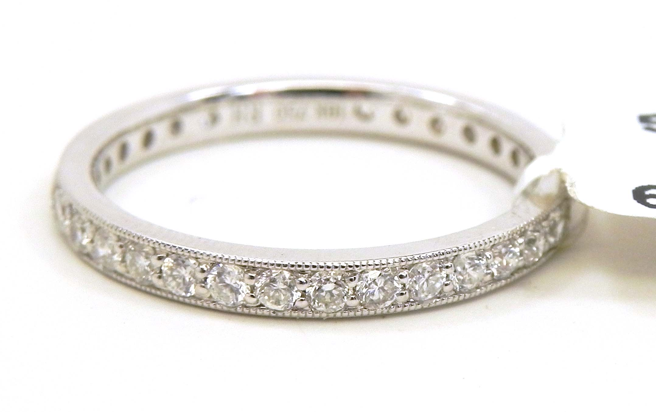18k white gold diamonds eternity wedding band