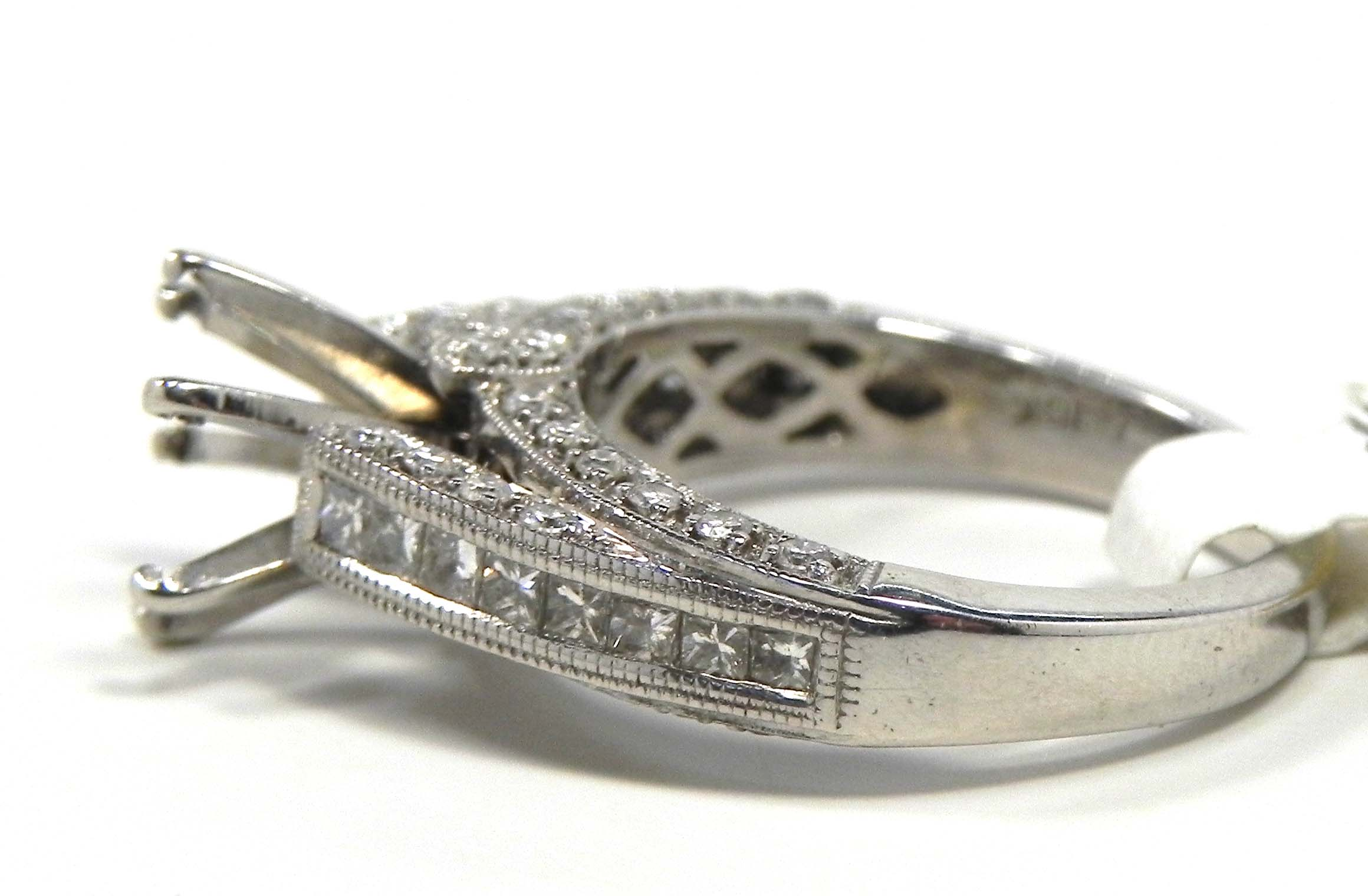 18k white gold diamonds semi mount engagement ring
