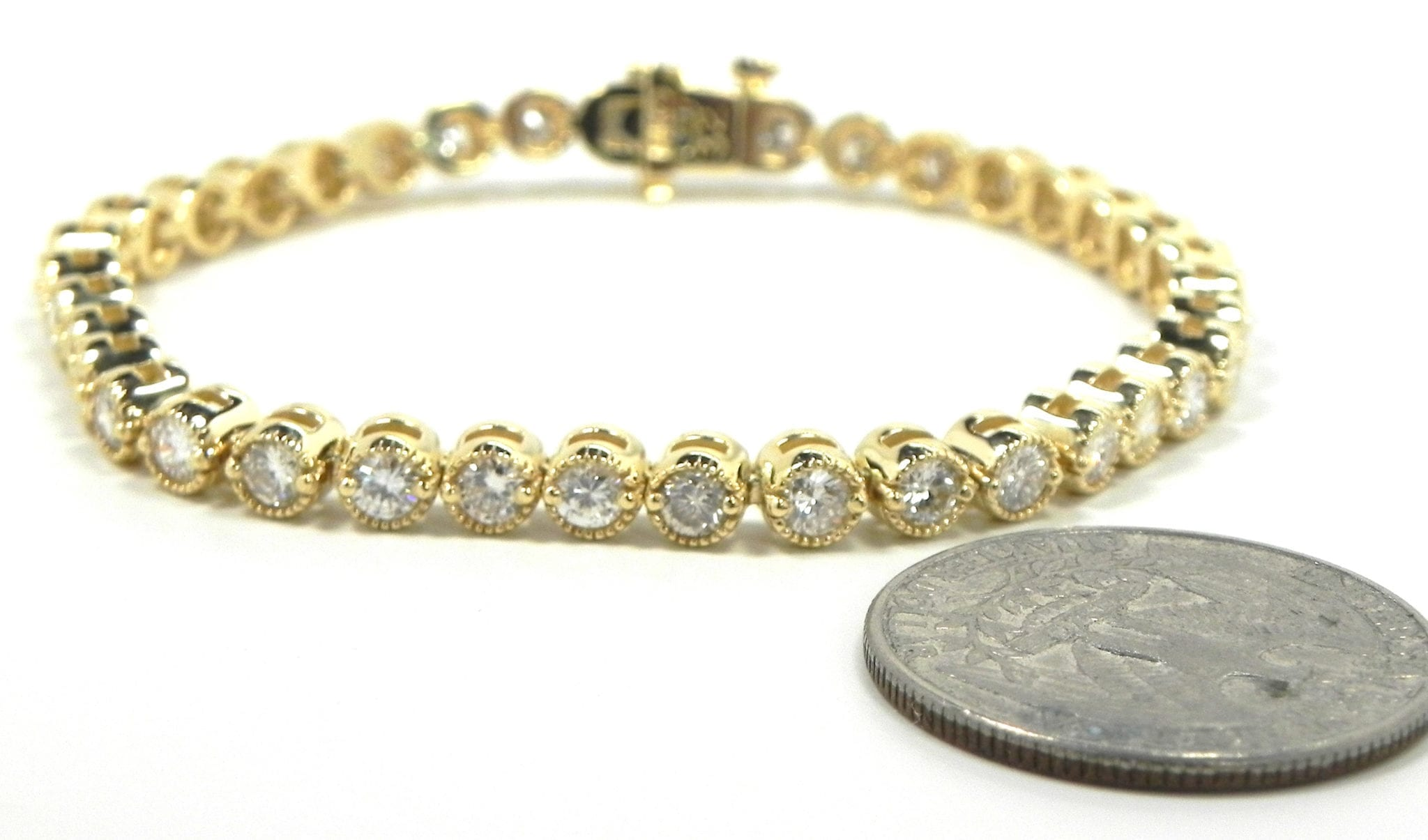 Ladies 14k Yellow Gold 3 80 Cts Diamonds Tennis Bracelet