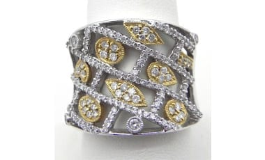 Ladies 18k Two-Tone 1.10 Cts. Diamonds Open Band Ring