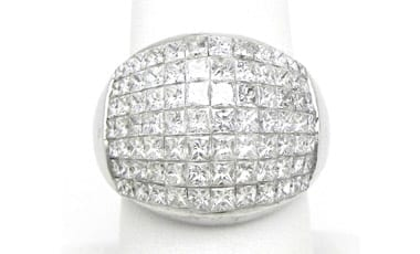 Ladies 18k White Gold Invisibly Set 4.10 Cts. Diamonds Band Ring