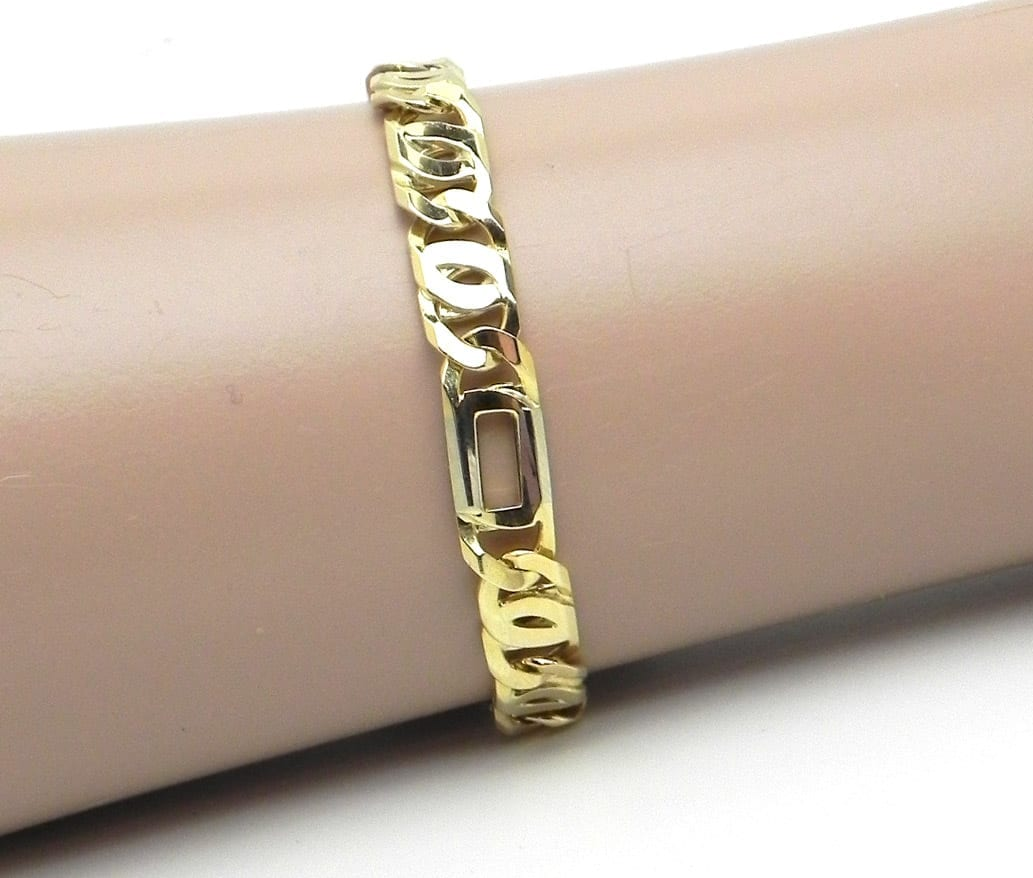 Men S 14k Two Tone Figarucci Link Bracelet Bright Jewelers