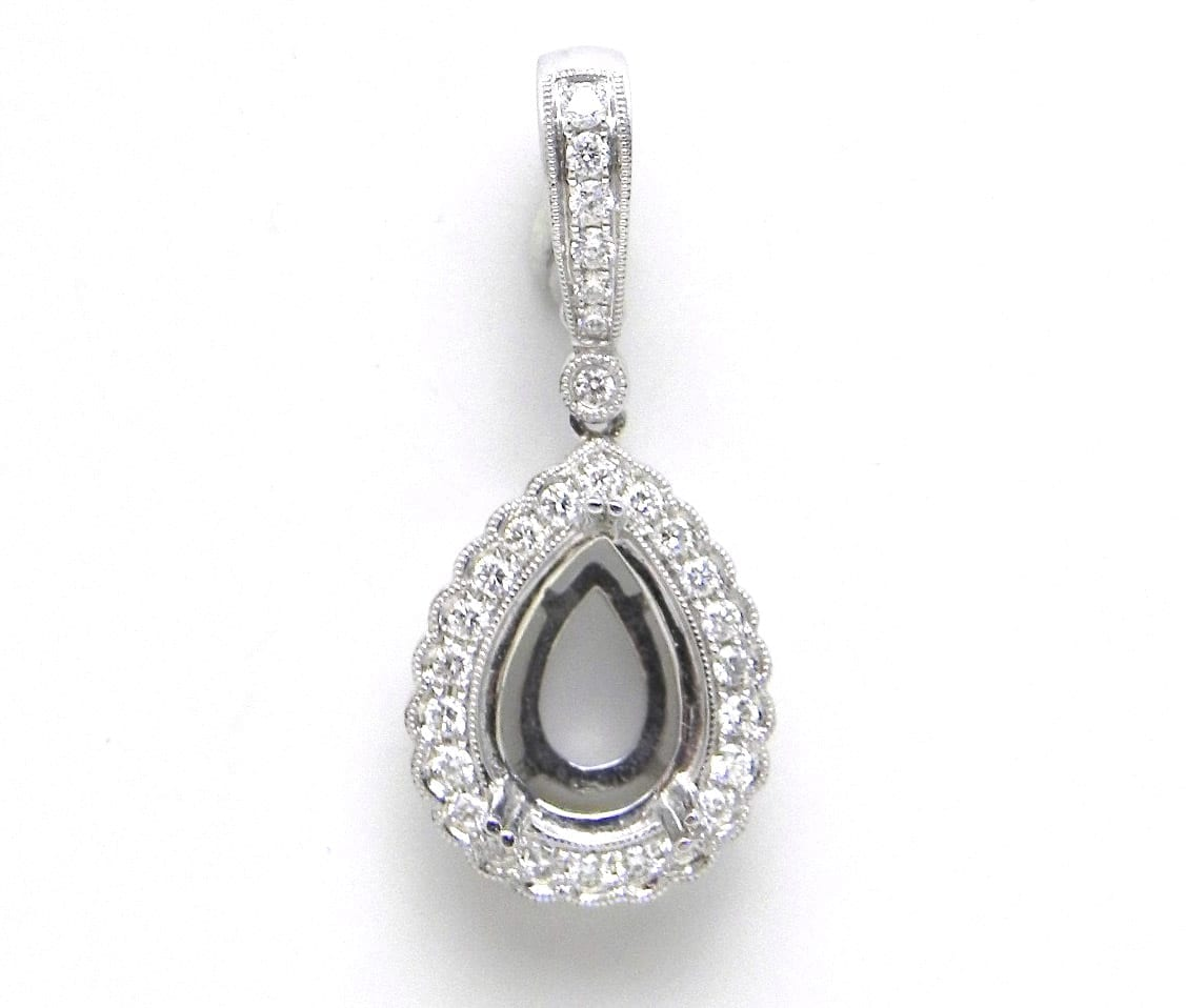 Ladies 18k white gold pear shaped diamond lined semi mount pendant semi mount pendant 112900 previous next mozeypictures Image collections