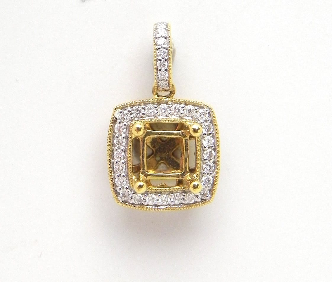 18k yellow gold squared accented semi mount