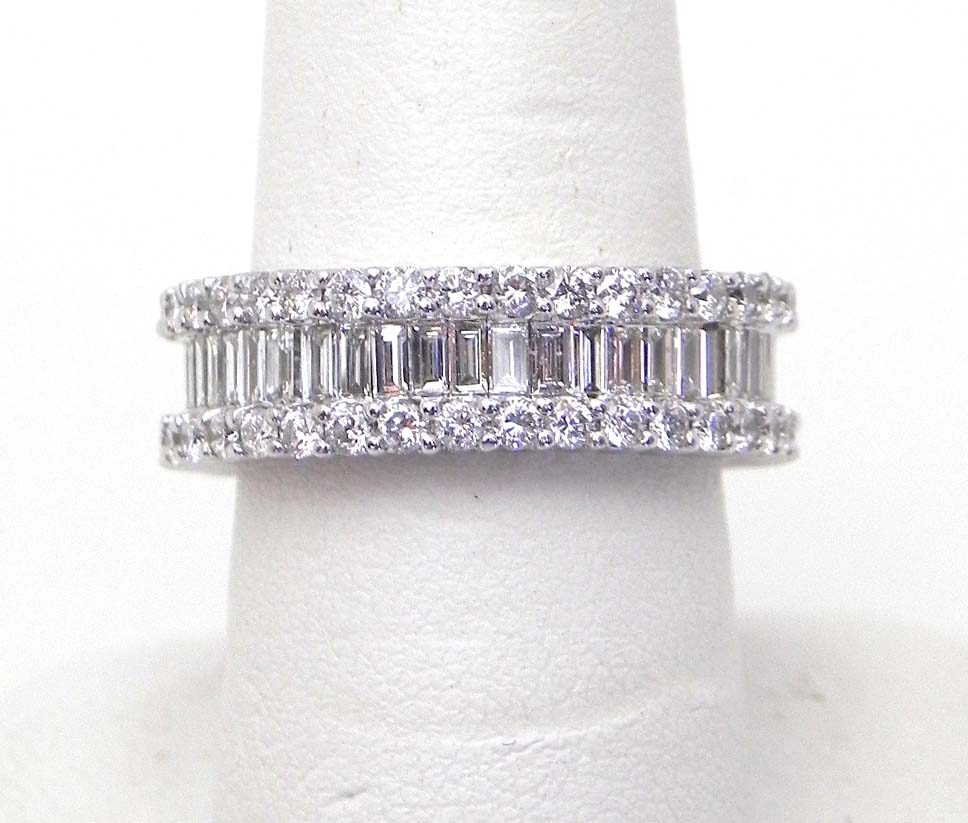 band scattered eternity diamond baguette rings bands