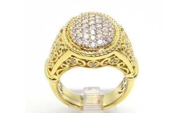 Ladies Yellow Gold 1.10 Cts. Diamond Oval Estate Ring