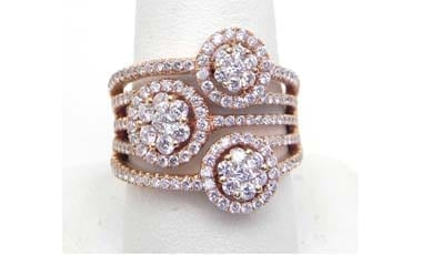 Ladies 18k Rose Gold 1.92 Cts. Diamonds Triple Cluster Band Ring
