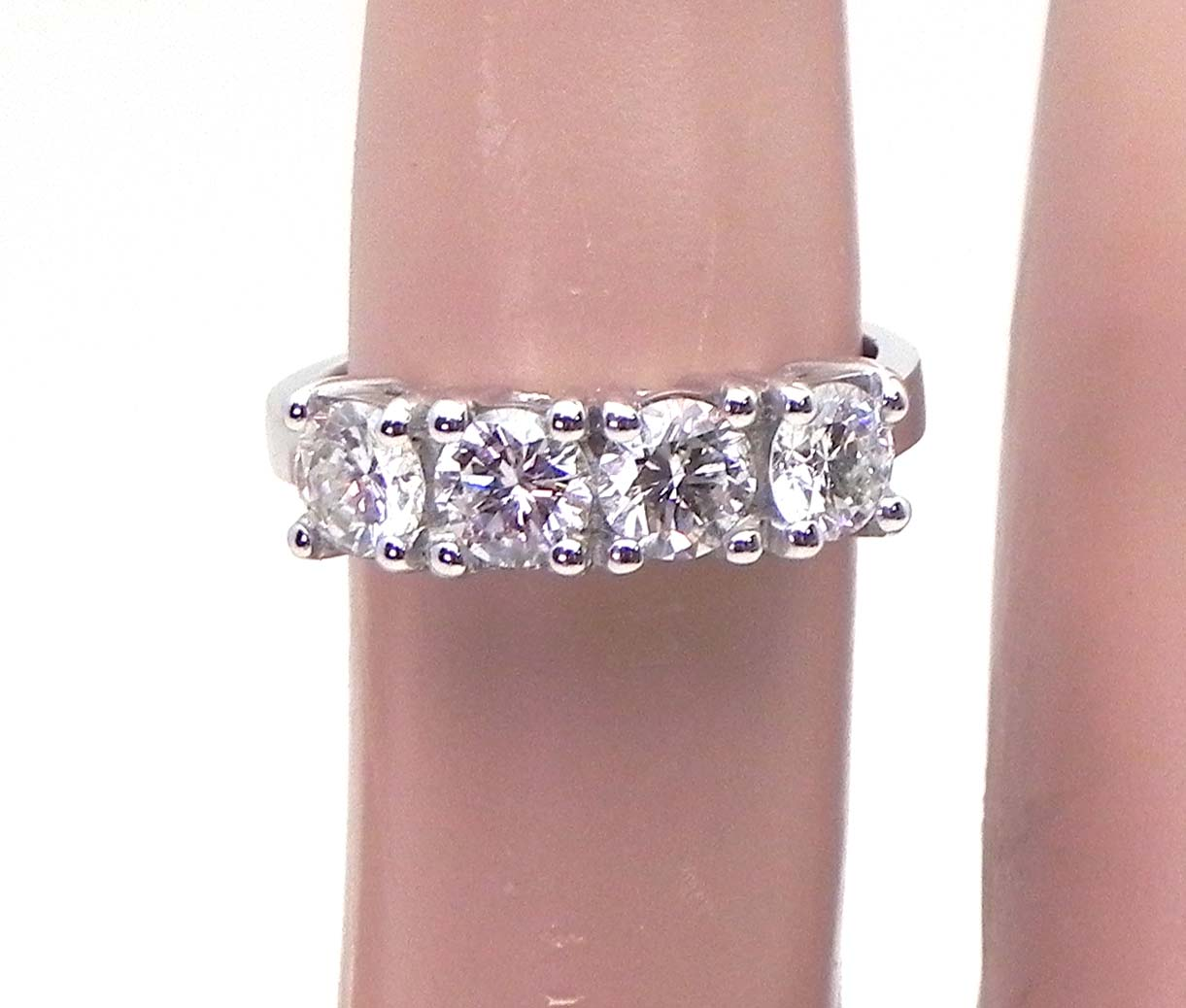 Ladies Diamond 14k White Gold 1.50 Cts. 4 Stone Band Ring | Bright ...