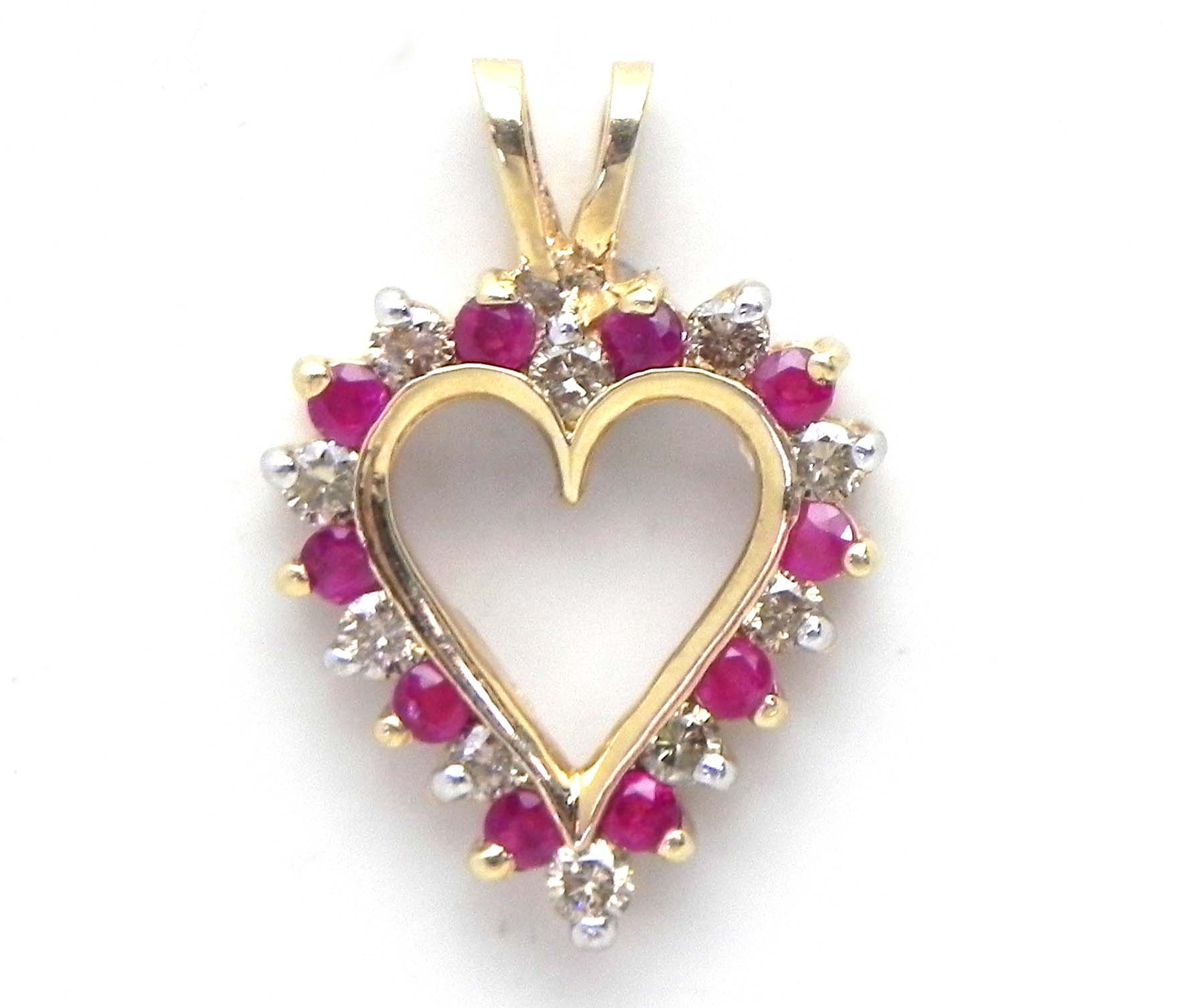Ladies yellow gold diamond ruby open heart pendant bright jewelers diamond ruby open heart pendant 19900 previous next aloadofball Image collections