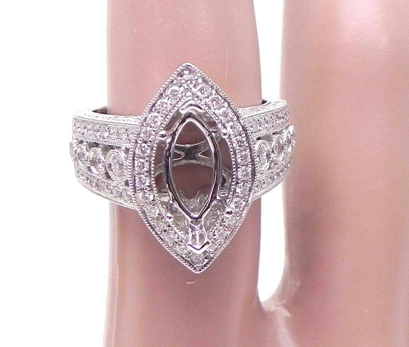 Ladies 18k White Gold 1.62 Cts. Diamond Marquise Semi-Mount Ring ...