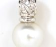 Ladies 14k White Gold Diamonds & Pearl Pendant