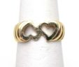 Ladies 14k Yellow Gold Double Open Heart Ring