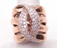 Ladies 14k Rose Gold 2.42 Cts. Diamonds Crossing C Wide Band Ring