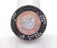 Custom Ladies 14k Rose Gold Black & White Diamonds Wavy Multi-Circle Ring