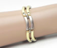Ladies 14k Two-Tone Double Bar Link 28.2 Gram Bracelet