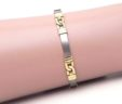 Ladies 14k Two-Tone Satin Bar Link Bracelet