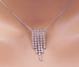 Ladies 14k White Gold 1 1/2 Cts. 5 Row Diamonds Icicle Pendant w/Chain