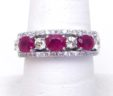 Ladies 14k White Gold 1.45 Cts. Ruby w/ Diamonds Band Ring