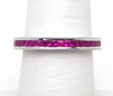 Ladies 14k White Gold 1.60 Cts. Princess Rubies Size 6 Eternity Band Ring