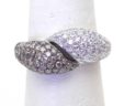 Ladies 14k White Gold 1.97 Cts. White & Champagne Diamonds Bypass Ring