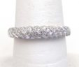 Ladies 14k White Gold 1/2 Carat Diamonds Ribbed Domed Band Ring