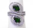 Figure 8 Ladies 14k White Gold 2 Cts Chrome Diopside & Diamonds By-Pass Ring