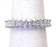 Ladies 14k White Gold 2.4 Cts. Princess Cut Diamond Eternity Band Size 5 3/4 Ring
