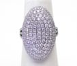 Ladies 14k White Gold 2.57 Cts. Large Diamonds Domed Oval Split Shank Ring