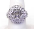 Ladies 14k White Gold 2.66 Cts. Diamonds Half Dome Semi-Mount